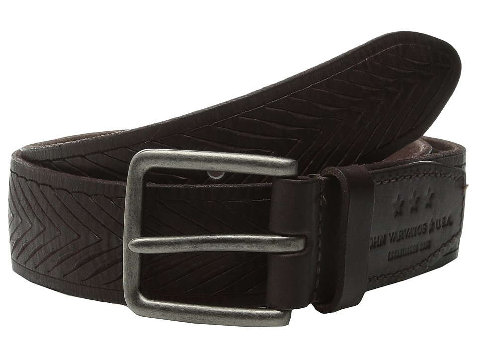 John Varvatos - 38mm Chevron Embossed Leather Belt (Chocolate) Men's Belts