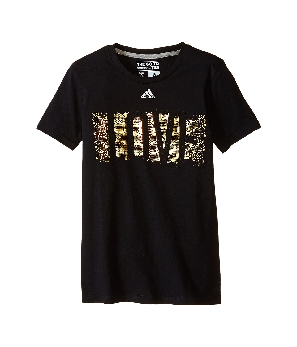 Image of adidas Kids - 30's Short Sleeve Tee All Love (Big Kids) (Black) Girl's T Shirt