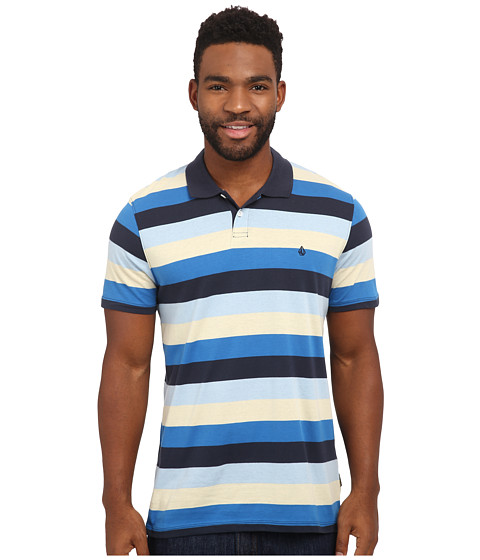 Volcom - Wowzer Stripe Polo Shirt (Navy) Men's Short Sleeve Pullover