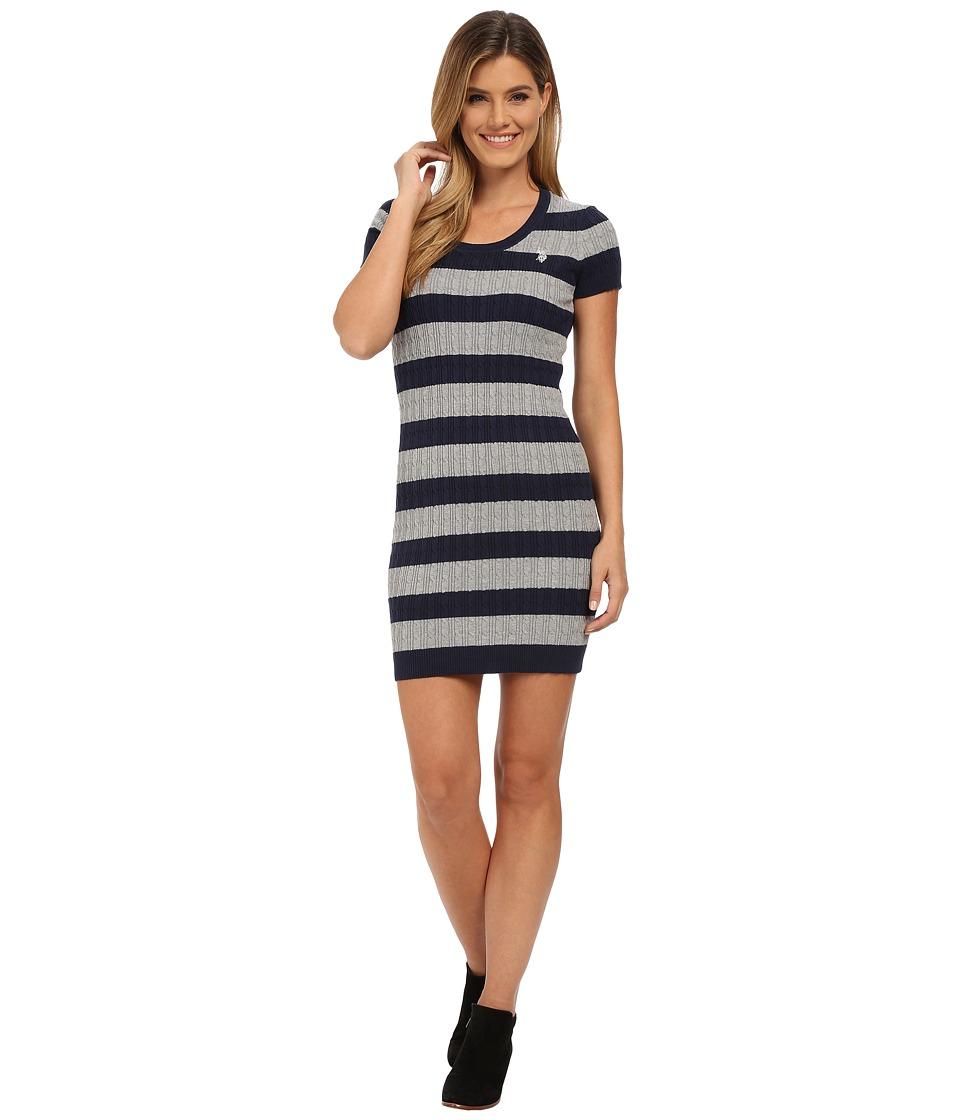 U.S. POLO ASSN. - Striped Cable Knit Dress (Evening Blue Combo) Women's Dress