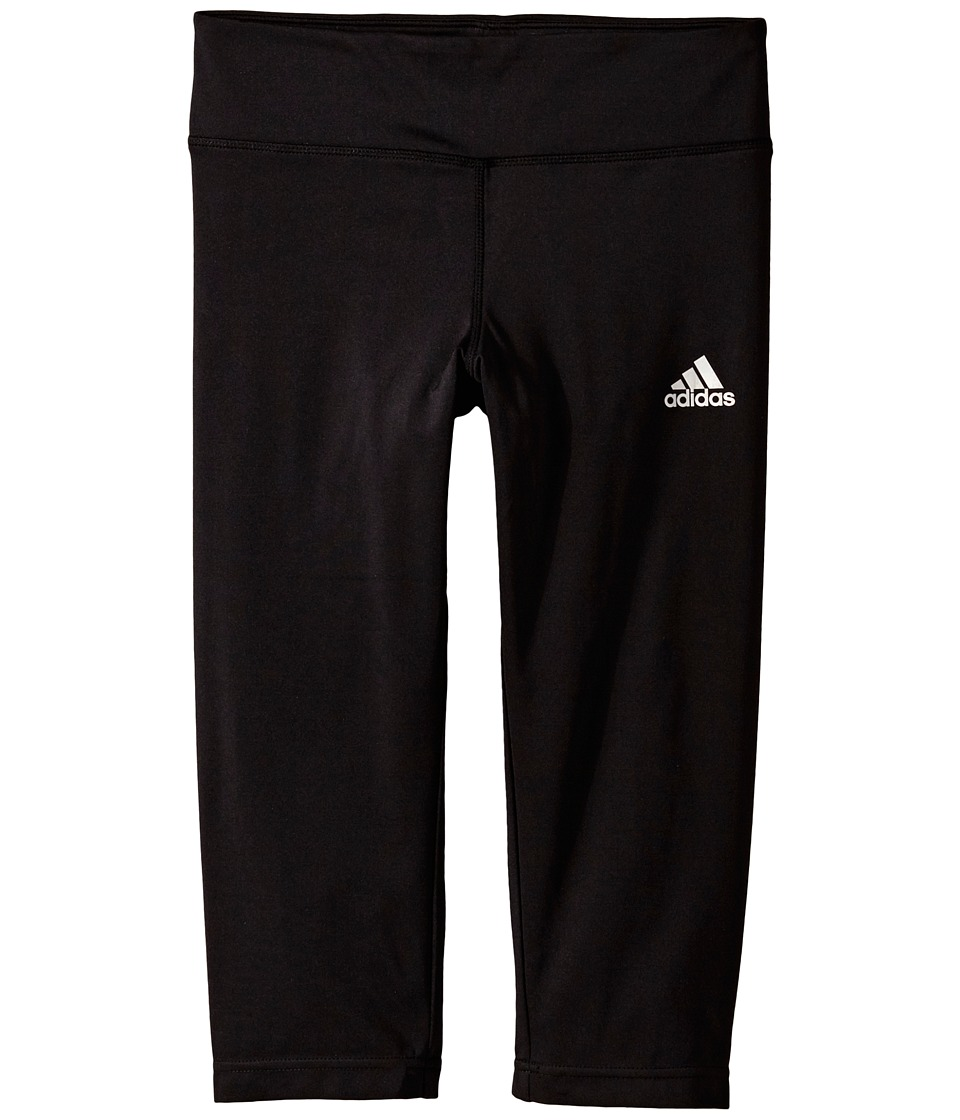 adidas Kids - Gym Solid Capris (Big Kids) (Black) Girl's Capri