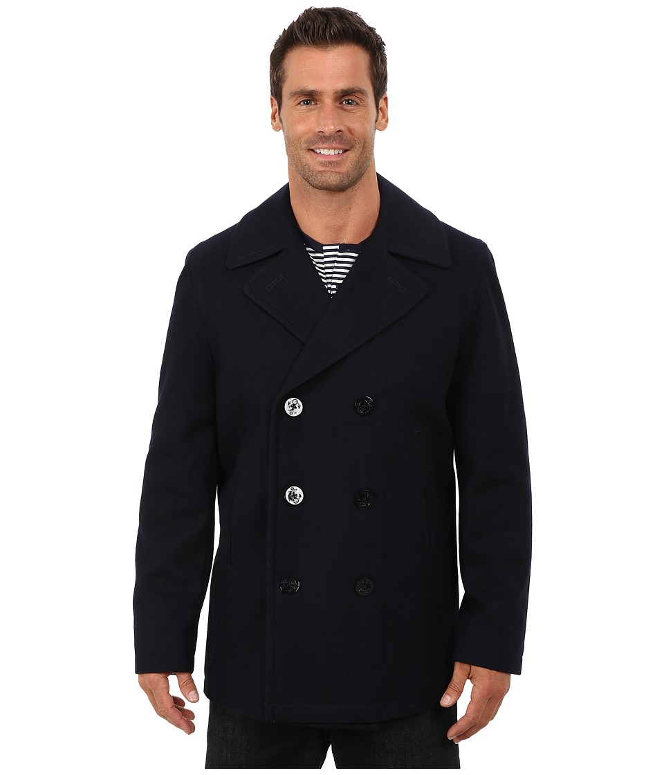 Nautica - Button Front Peacoat (Dark Navy) Men's Coat