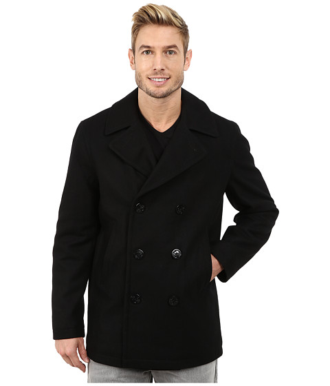 Nautica - Button Front Peacoat (Black) Men's Coat