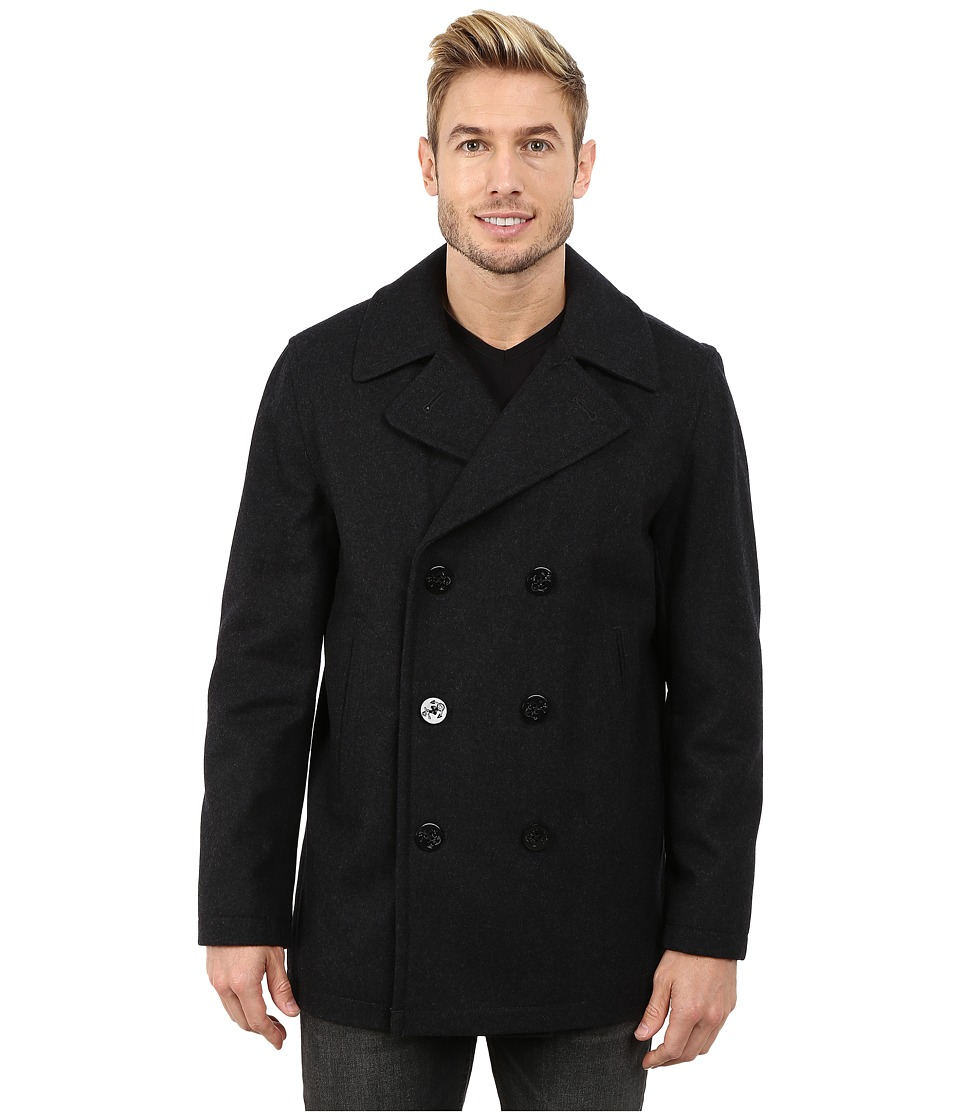 Nautica - Button Front Peacoat (Charcoal) Men's Coat