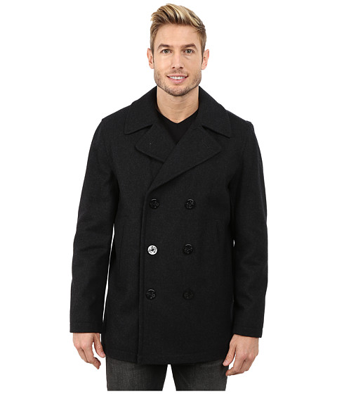Nautica - Button Front Peacoat (Charcoal) Men
