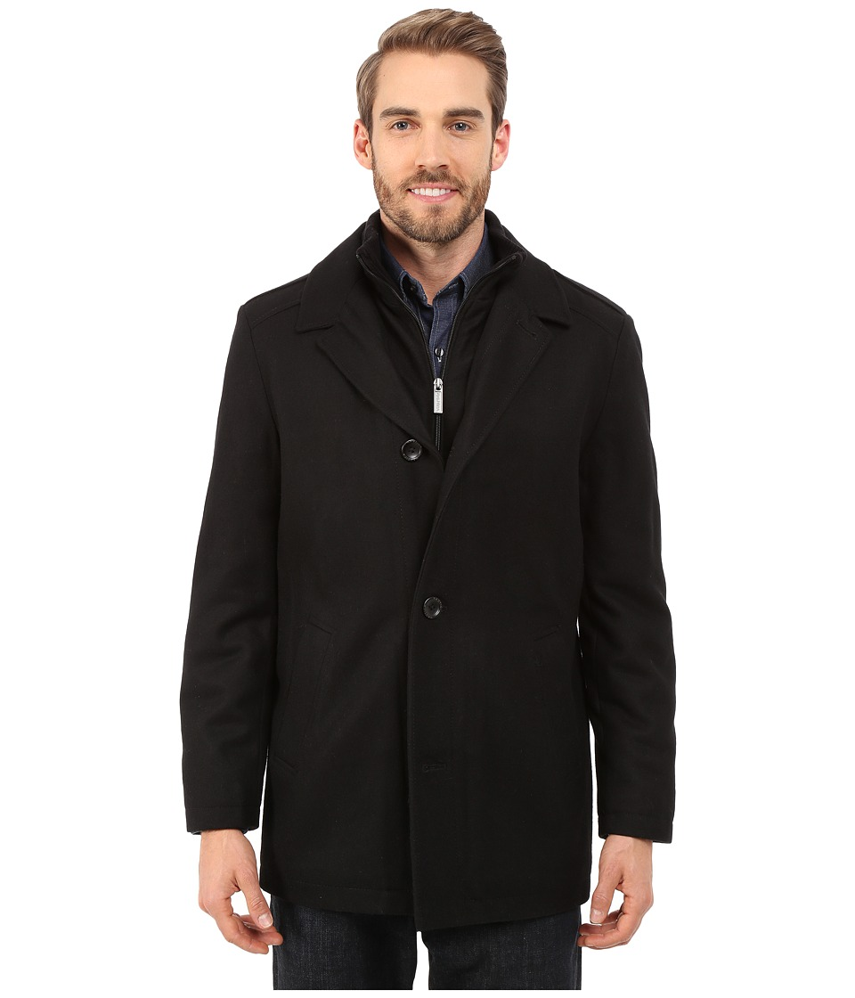 Nautica - Four Button Wool Melton Coat (Black) Men