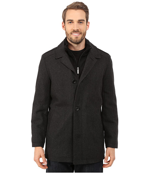 Nautica - Four Button Wool Herringbone Coat (Charcoal) Men