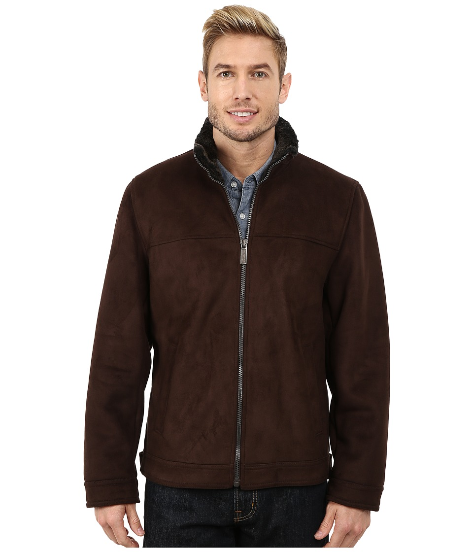Nautica - Zip Front Sheraling Jacket (Dark Brown) Men's Coat