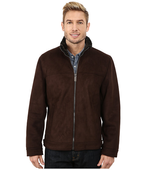 Nautica - Zip Front Sheraling Jacket (Dark Brown) Men