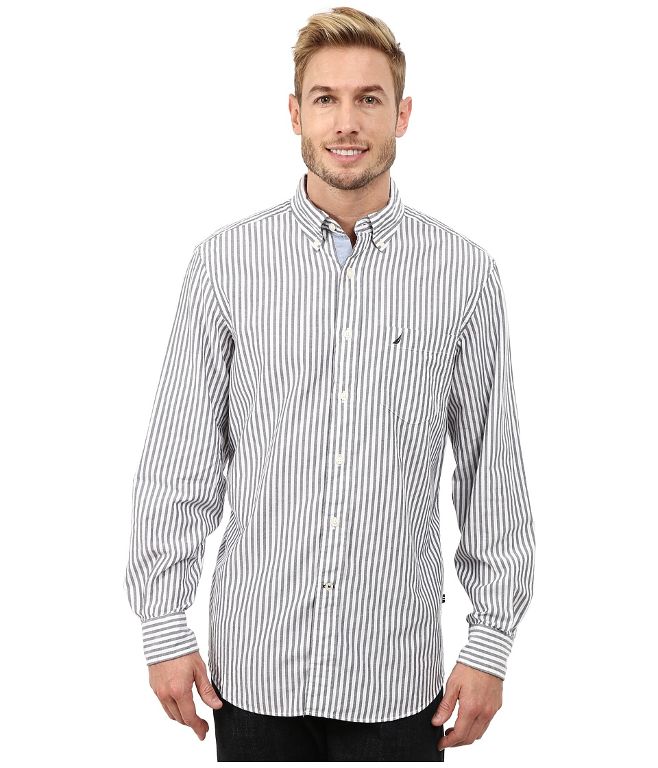 Nautica - Long Sleeve Oxford Stripe (Navy) Men's Long Sleeve Button Up