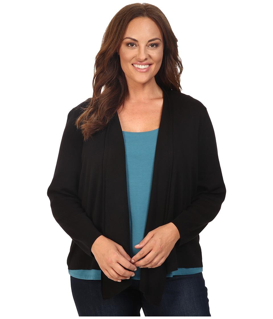 NIC+ZOE - Plus Size 4-Way Cardy (Black Onyx) Women's Sweater