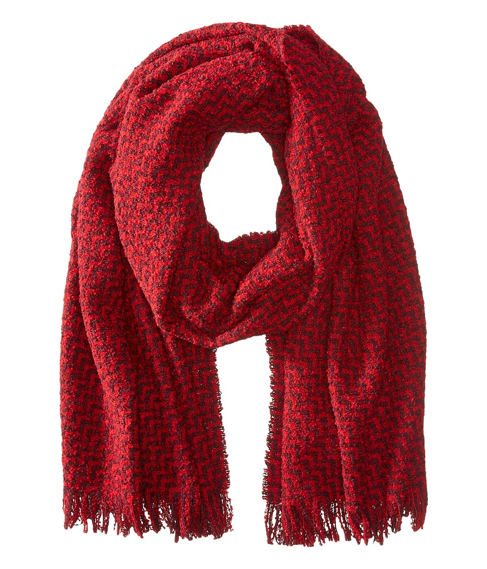 Scotch & Soda - Chunky Boucle Yarn Scarf in Graphic Pattern (Red) Scarves