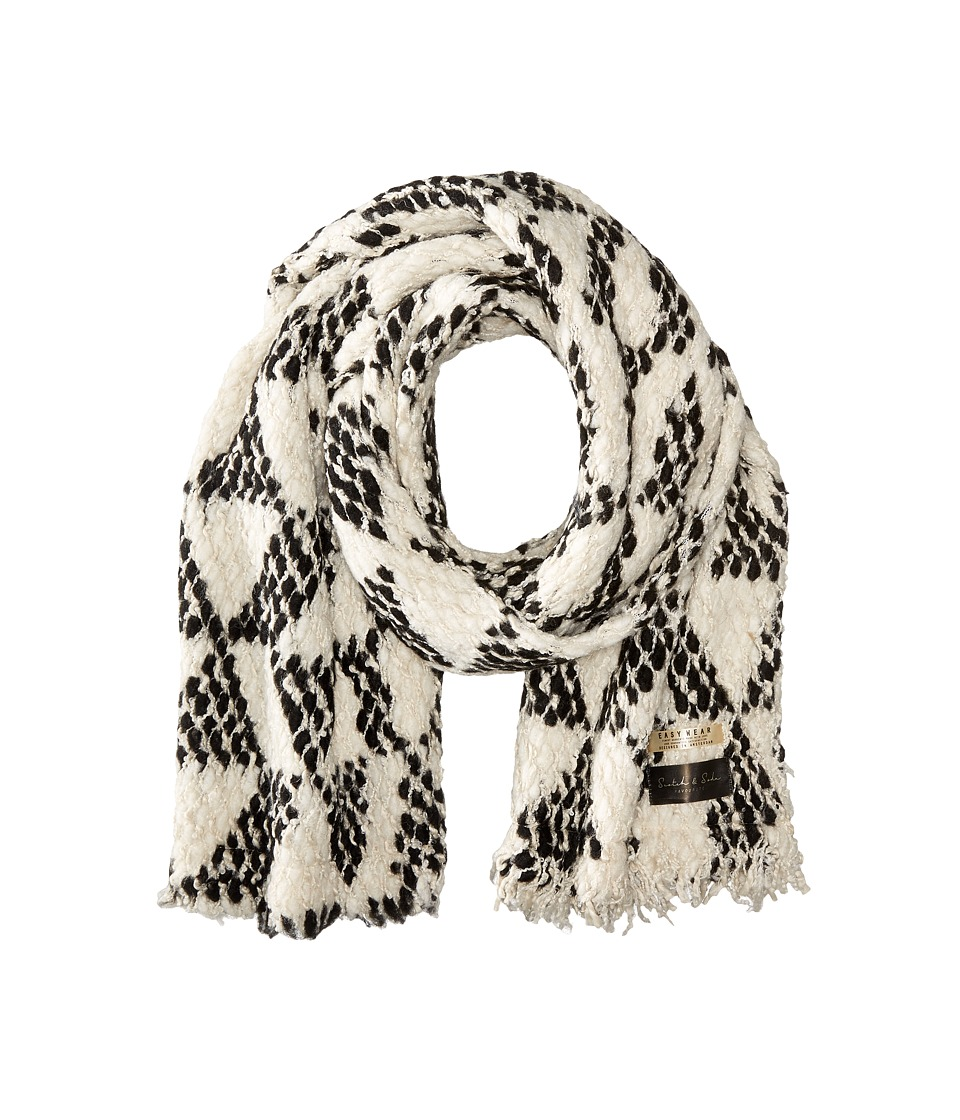 Scotch & Soda - Chunky Patterned Scarf in Boucle Yarn (White/Black) Scarves