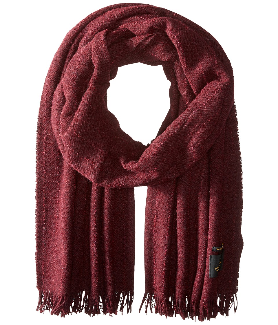 Scotch & Soda - Solid Woolen Gentlemen Scarf with Fringes (Bordeaux Melange) Scarves