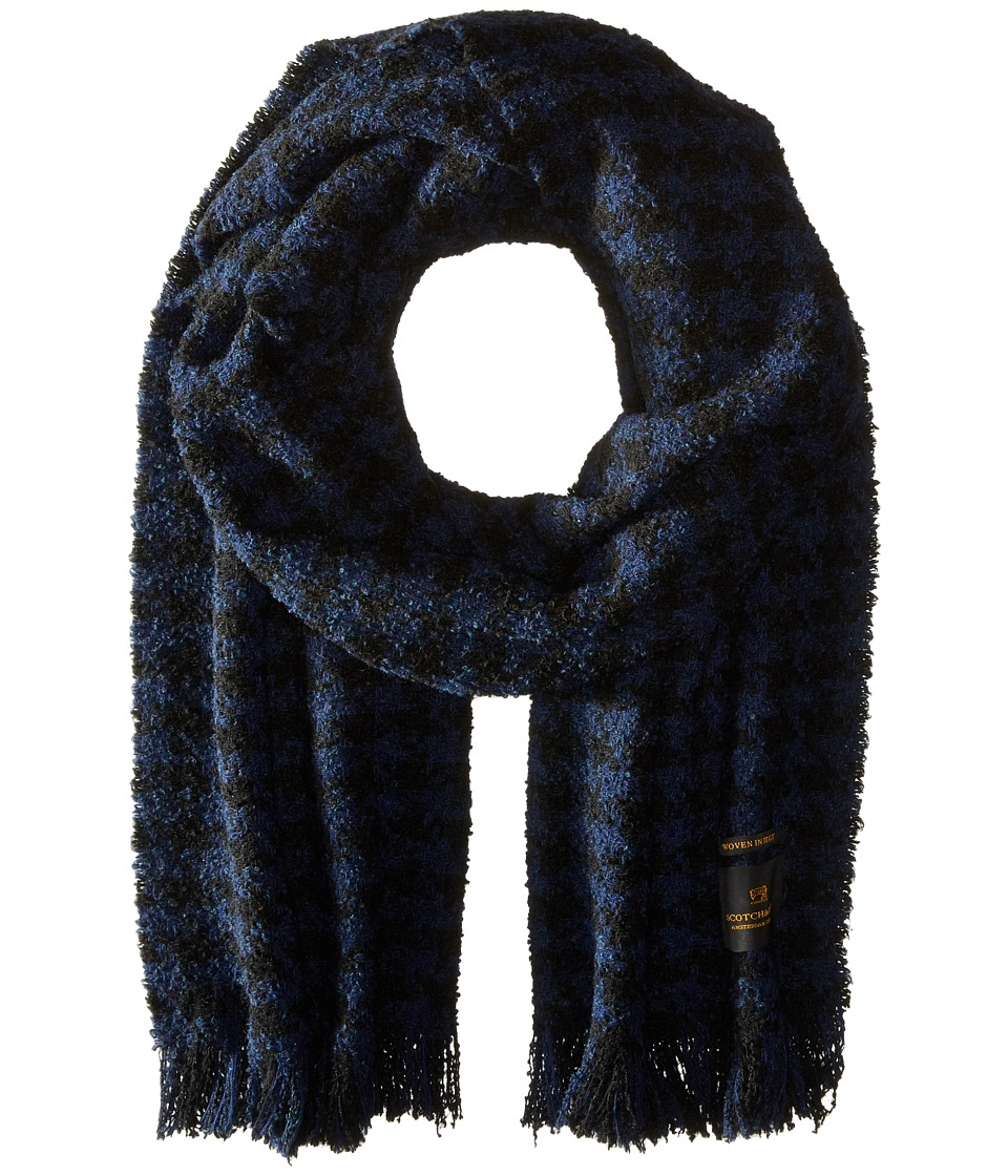 Scotch & Soda - Chunky Boucle Yarn Scarf in Graphic Pattern (Navy) Scarves