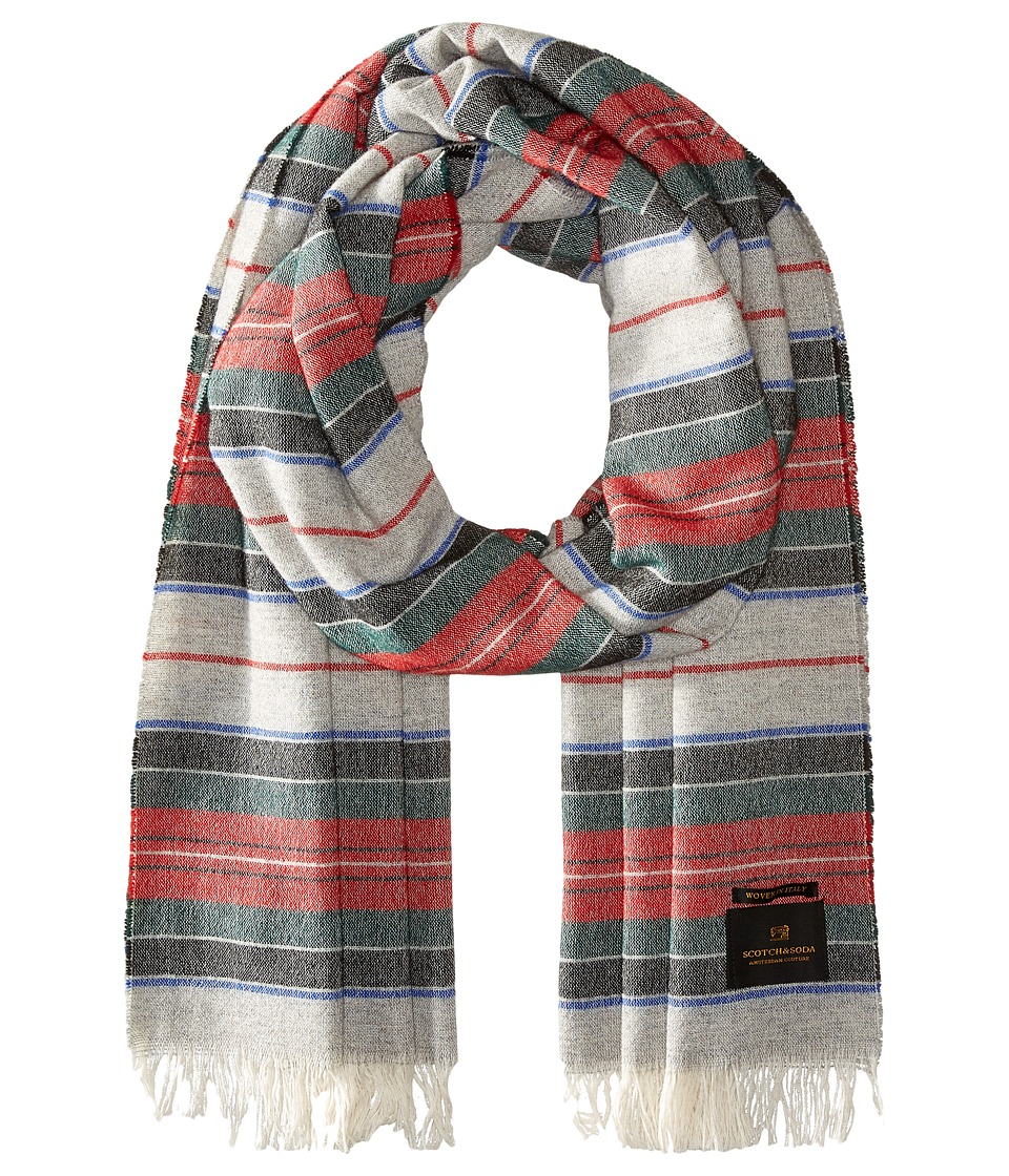 Scotch & Soda - Woolen Striped Scarf (Red/Grey) Scarves