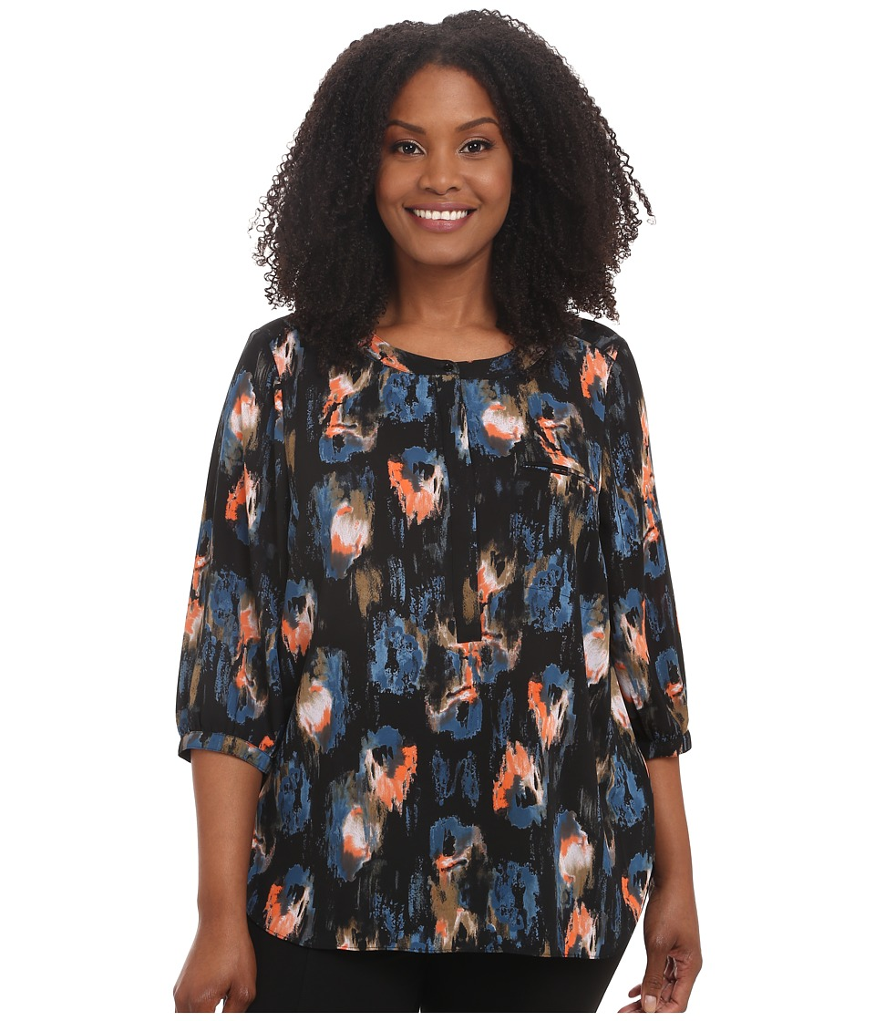 NYDJ Plus Size - Plus Size Solid 3/4 Sleeve Pleat Back (Black Ikat) Women