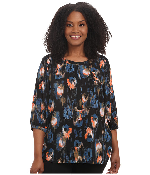 NYDJ Plus Size - Plus Size Solid 3/4 Sleeve Pleat Back (Black Ikat) Women's Long Sleeve Pullover