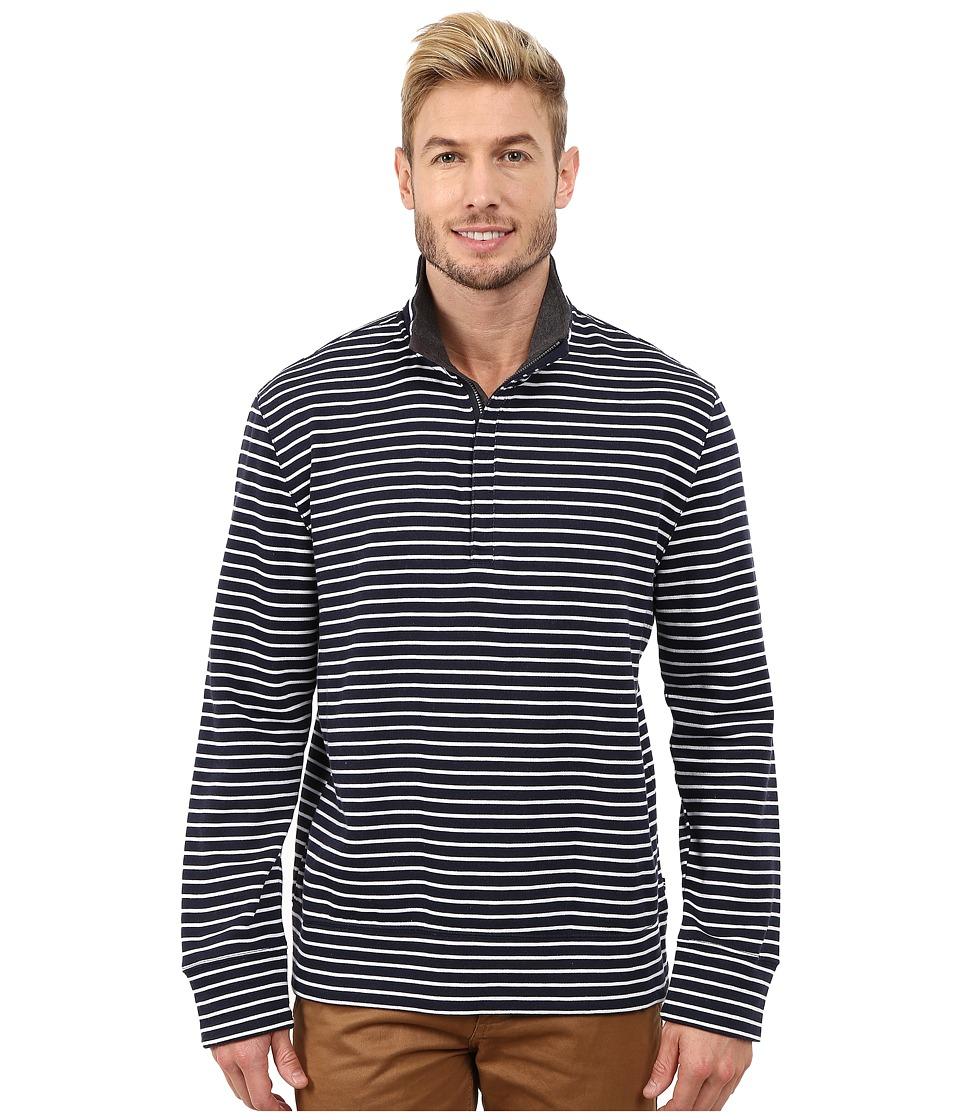 Nautica - CVC Stripe 1/4 Zip (Navy) Men's Clothing