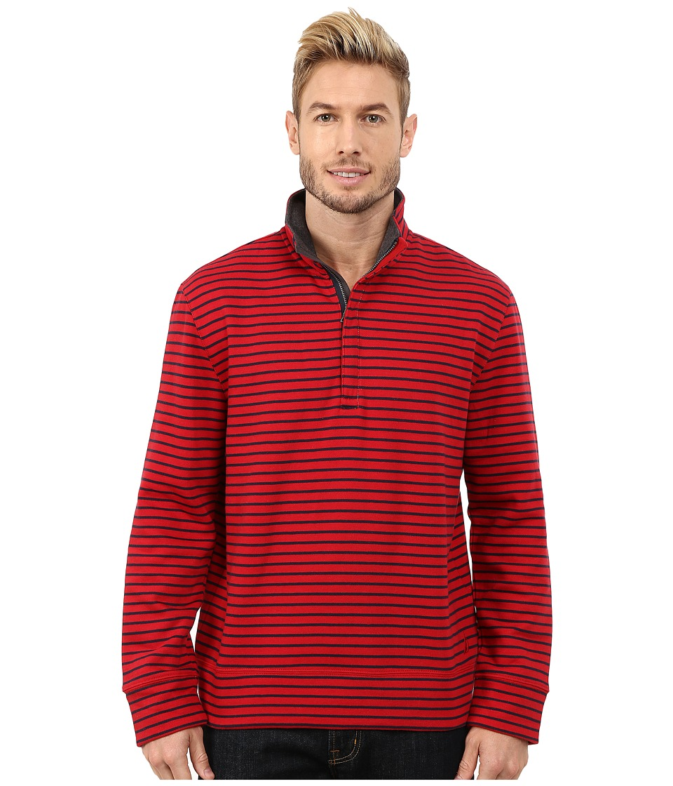 Nautica - CVC Stripe 1/4 Zip (Ribbon Red) Men's Clothing