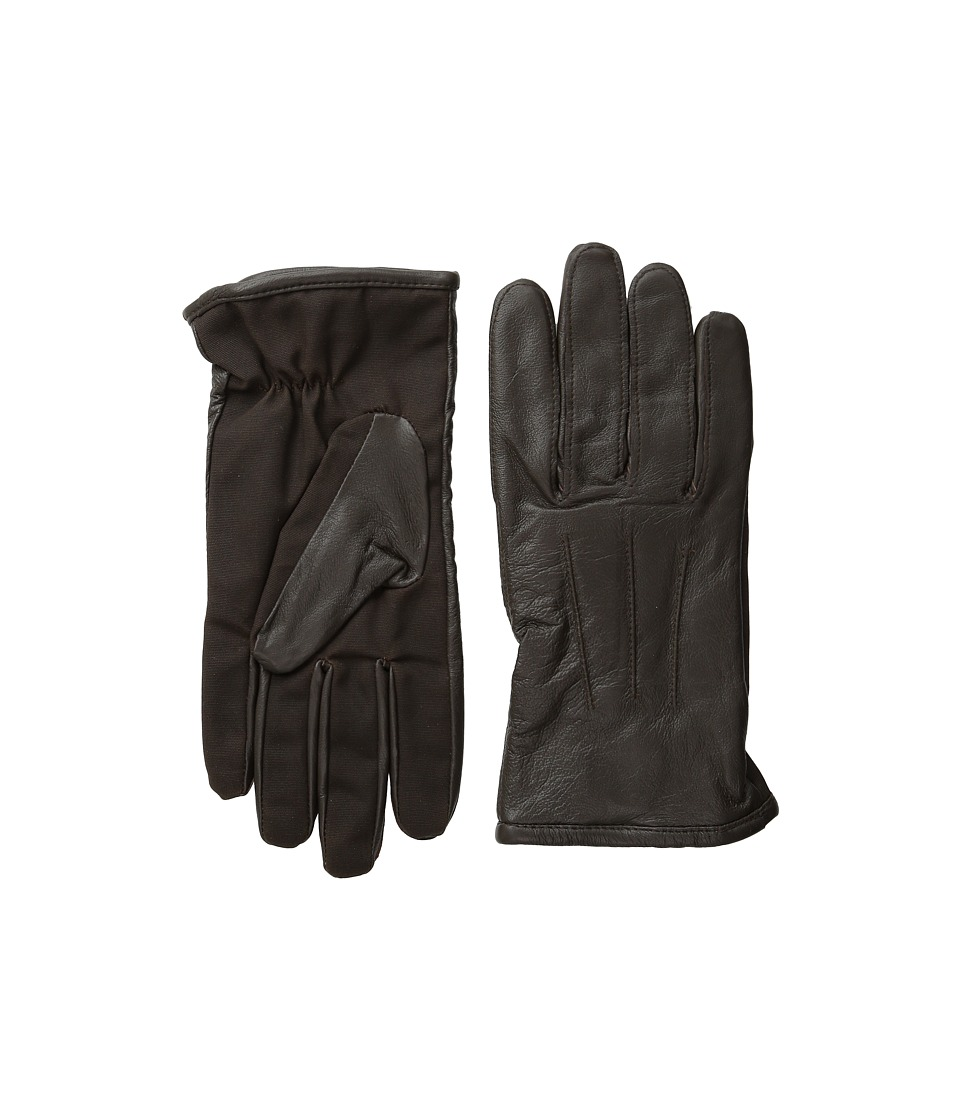Scotch & Soda - Leather Glove with Canvas Part (Brown) Extreme Cold Weather Gloves
