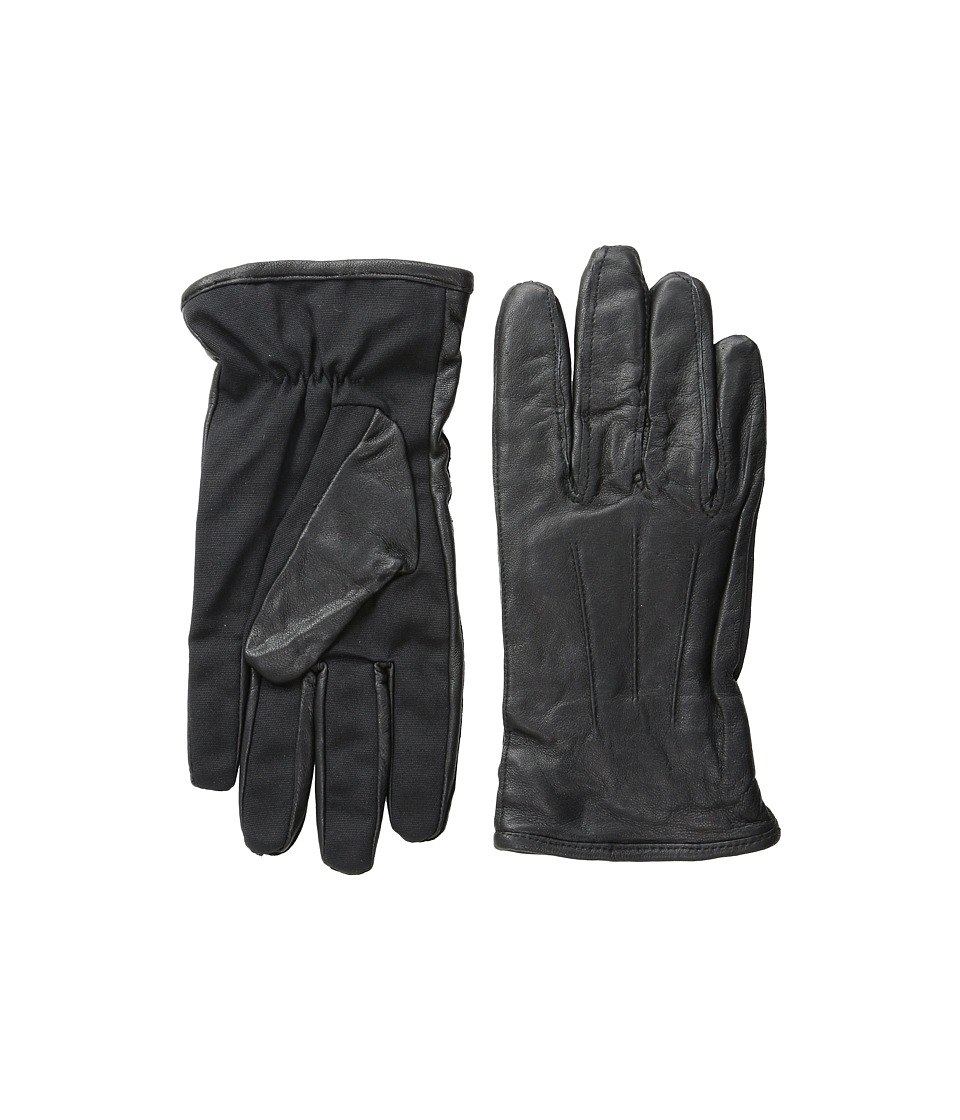 Scotch & Soda - Leather Glove with Canvas Part (Black) Extreme Cold Weather Gloves