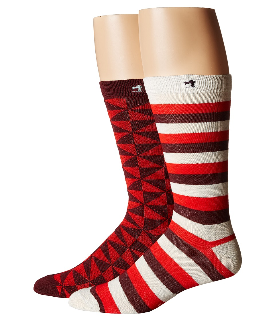 Scotch & Soda - Classic Socks in Fun Pattern - 2-Pack (Red) Men's Crew Cut Socks Shoes