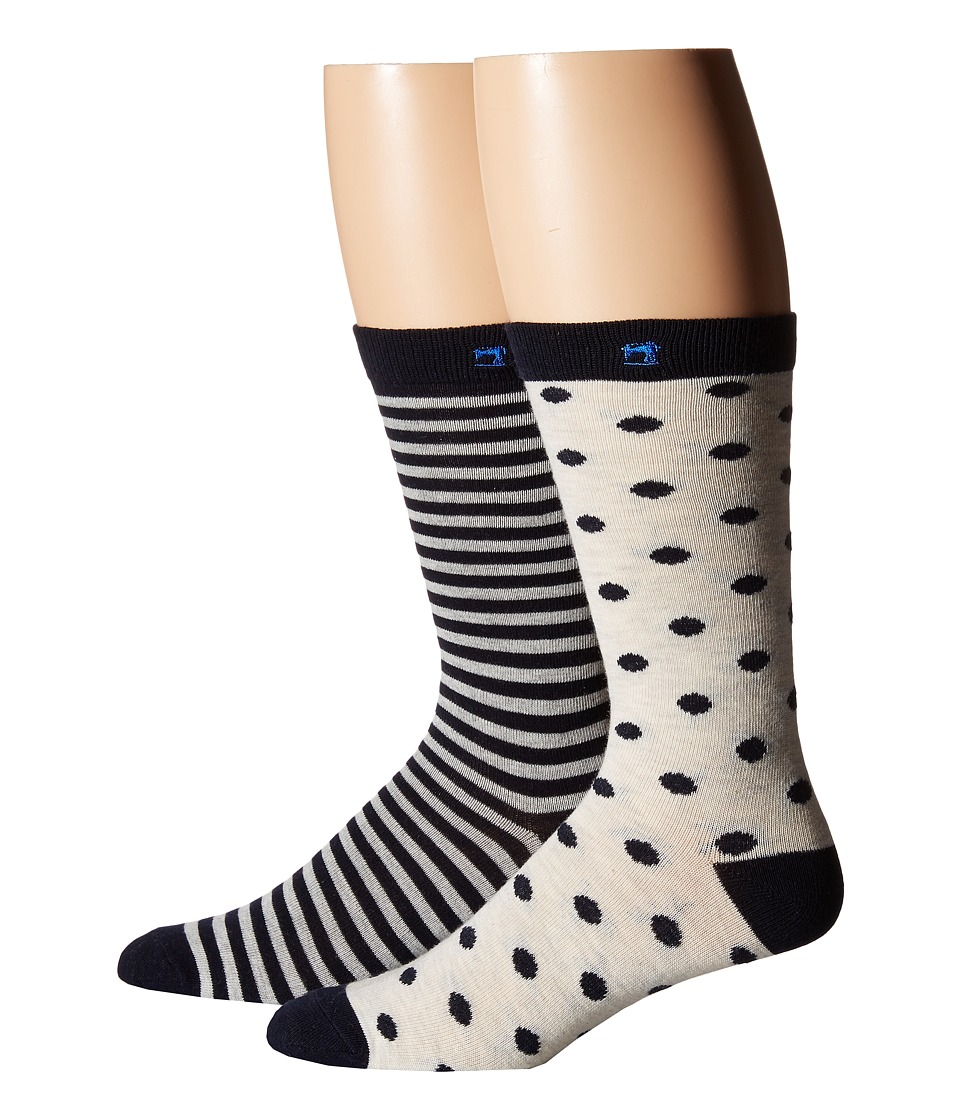 Scotch & Soda - Classic Socks - 2-Pack (Grey/Navy) Men's Crew Cut Socks Shoes