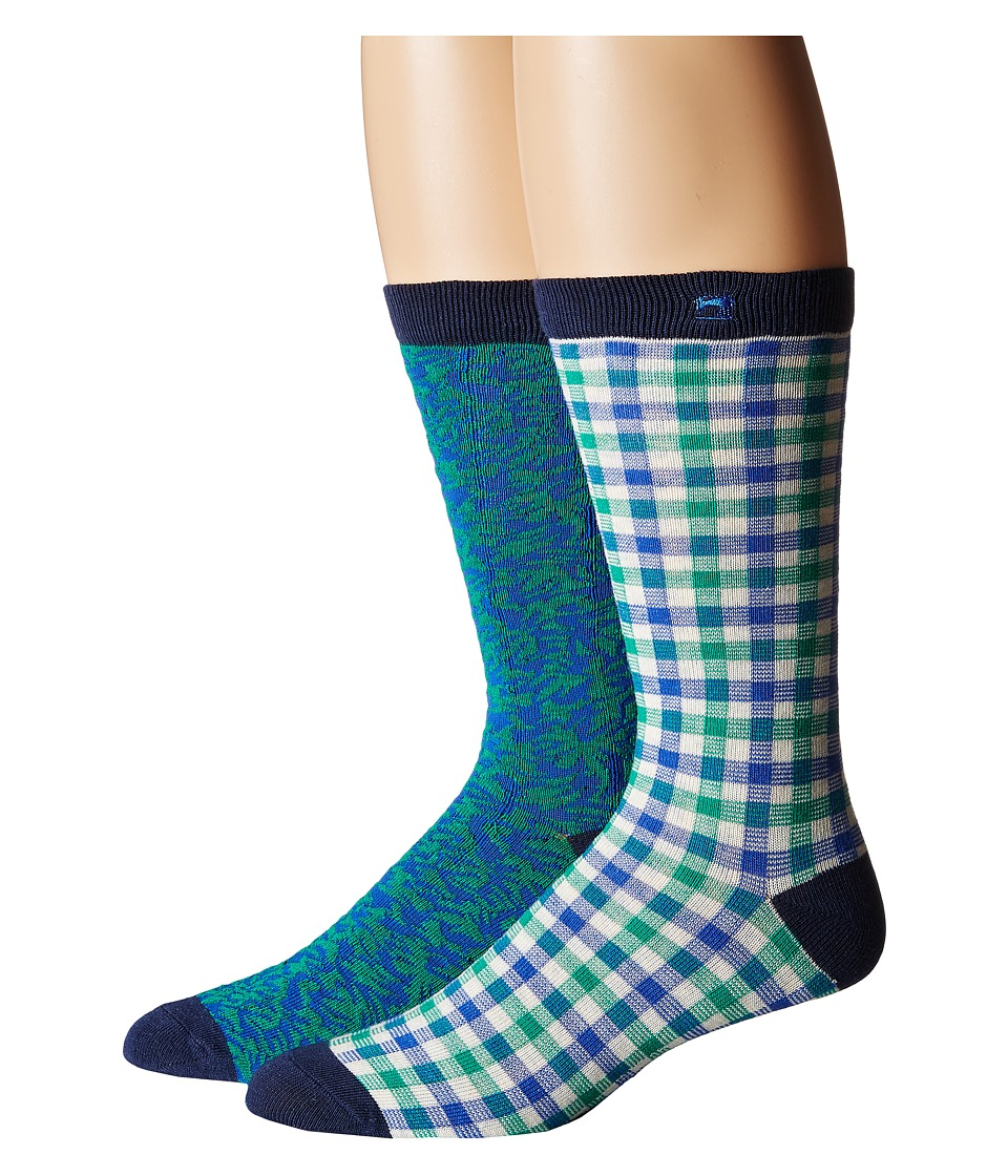 Scotch & Soda - Classic Socks in Fun Pattern - 2-Pack (Teal) Men's Crew Cut Socks Shoes