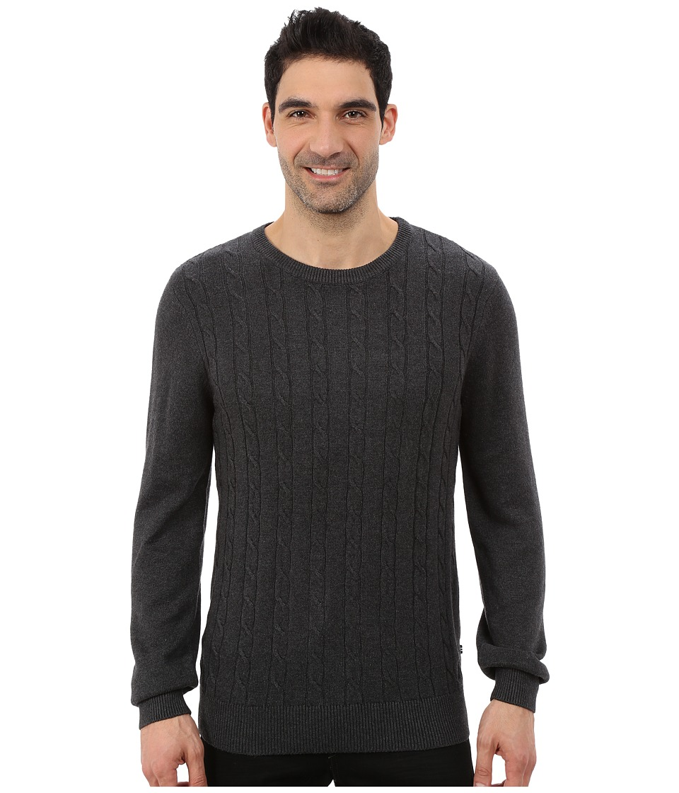 Nautica - 9 Gauge Solid Crew Neck Cable Sweater (True Black) Men's Sweater