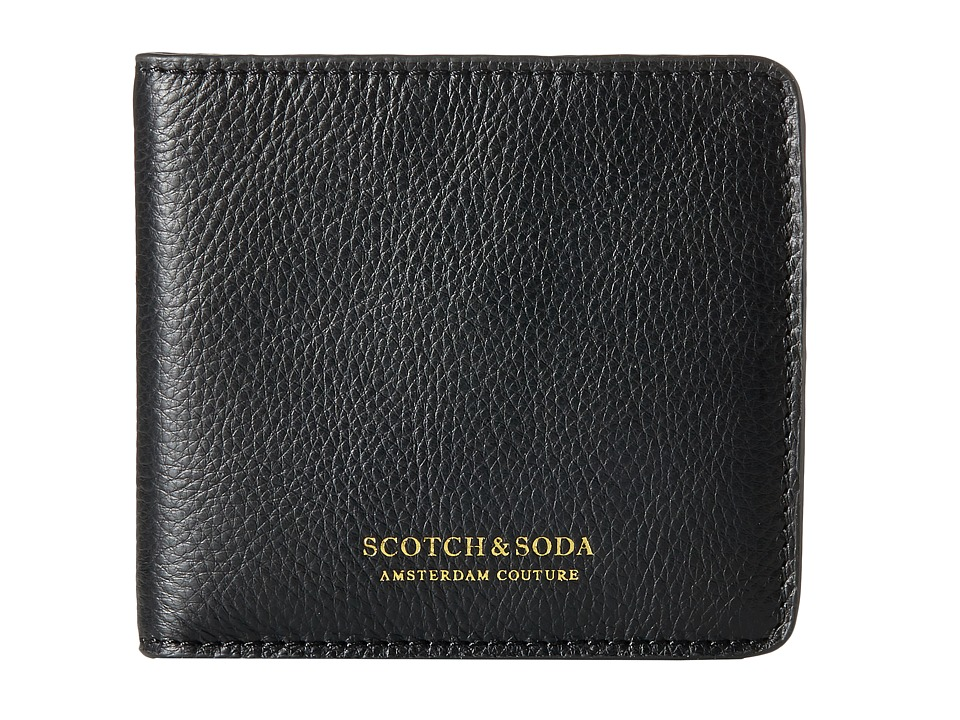 Scotch & Soda - Leather Wallet with Zip and Pocket in Back (Black) Wallet Handbags