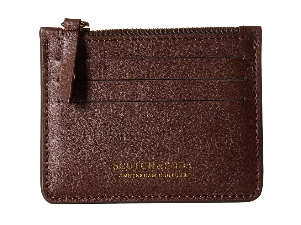 Scotch & Soda - Leather Credit Card Holder with Zip (Brown) Credit card Wallet