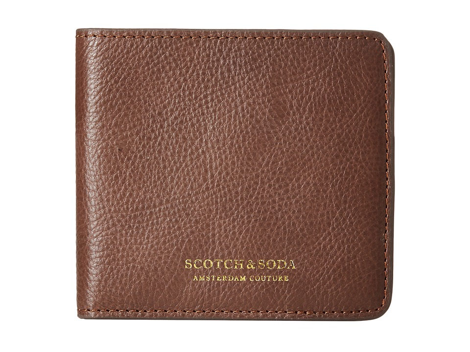 Scotch & Soda - Leather Wallet with Zip and Pocket in Back (Brown) Wallet Handbags