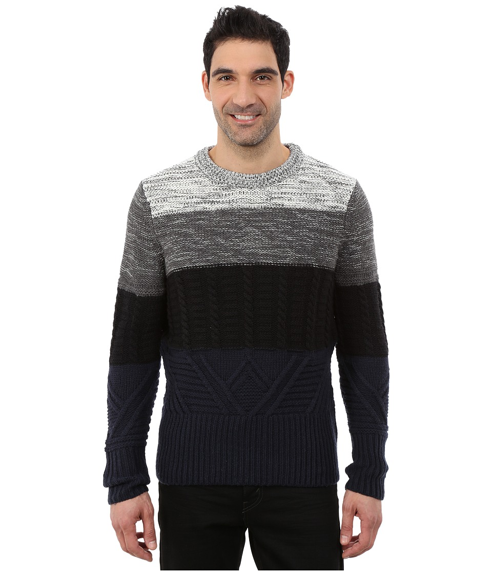 Nautica - 3 Gauge Lofty Block Crew (True Black) Men's Sweater
