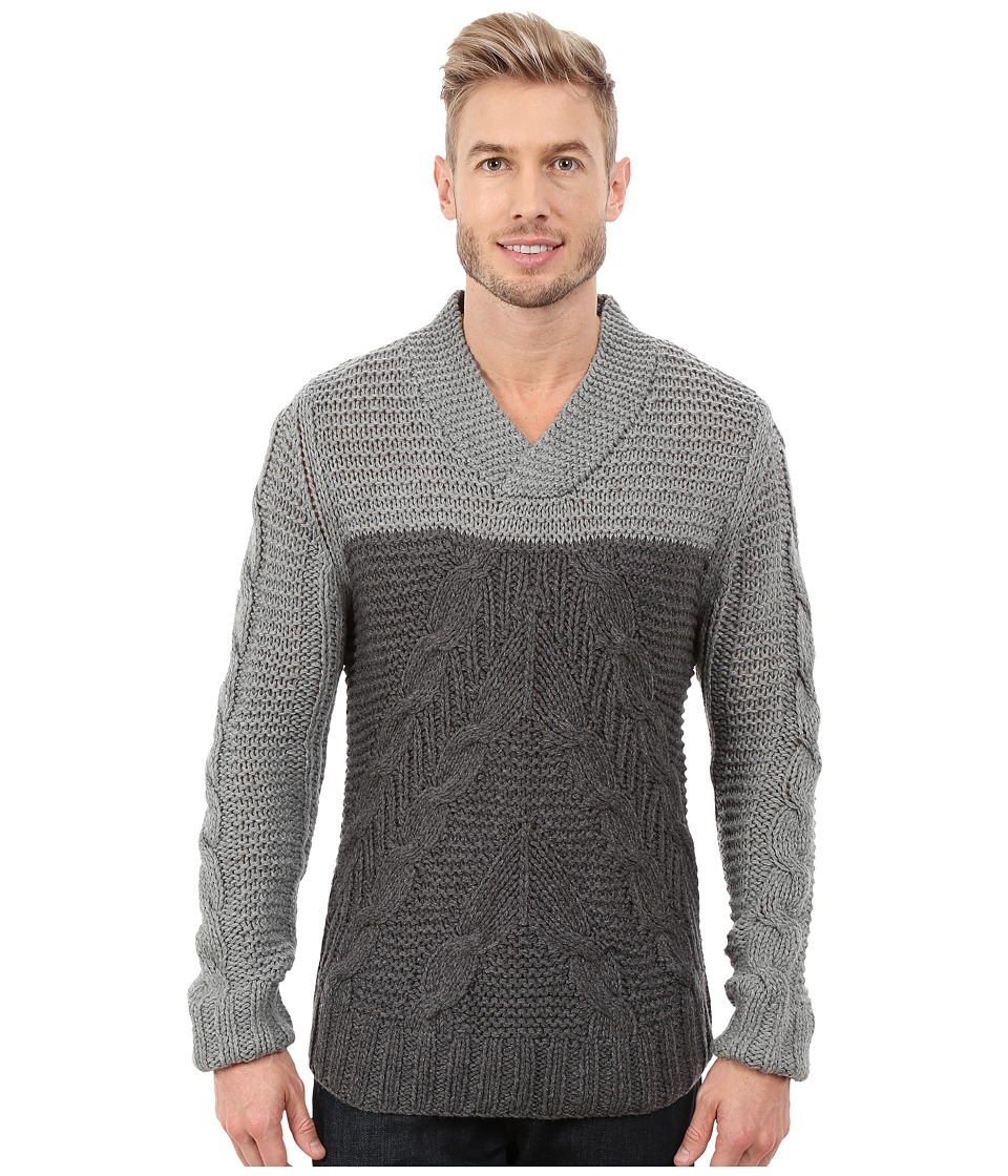 Nautica - 1.5 Gauge Lofty Cable Shawl (Morgans Graphit) Men's Sweater