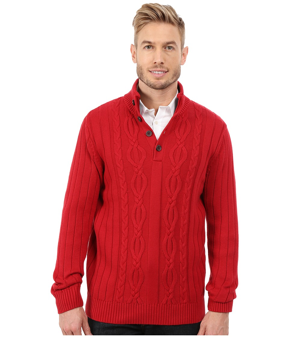 Nautica - 7 Gauge Cable Botton Mock (Ribbon Red) Men's Sweater