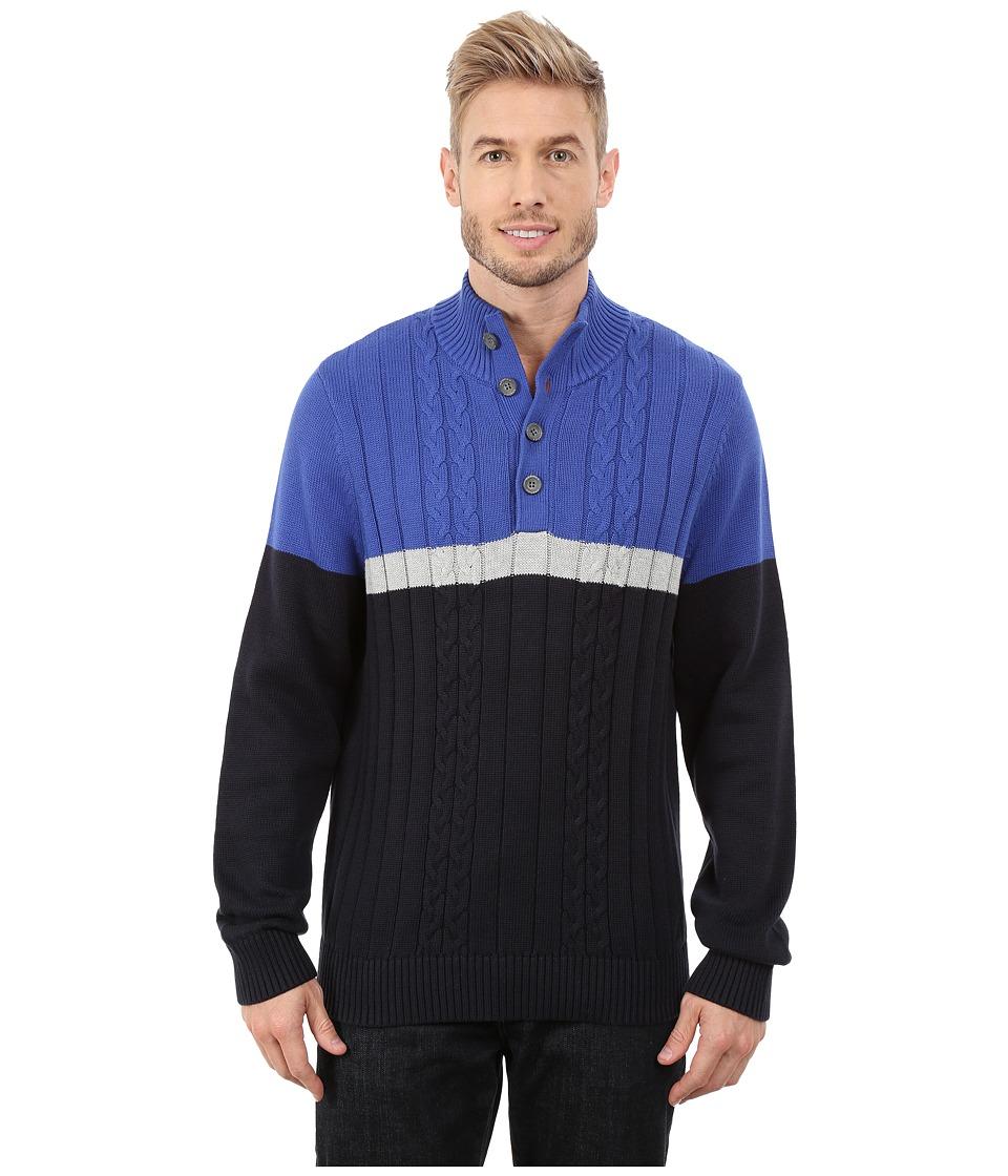 Nautica - 7 Gauge Color Block Botton Mock (Twilght Sky) Men's Sweater