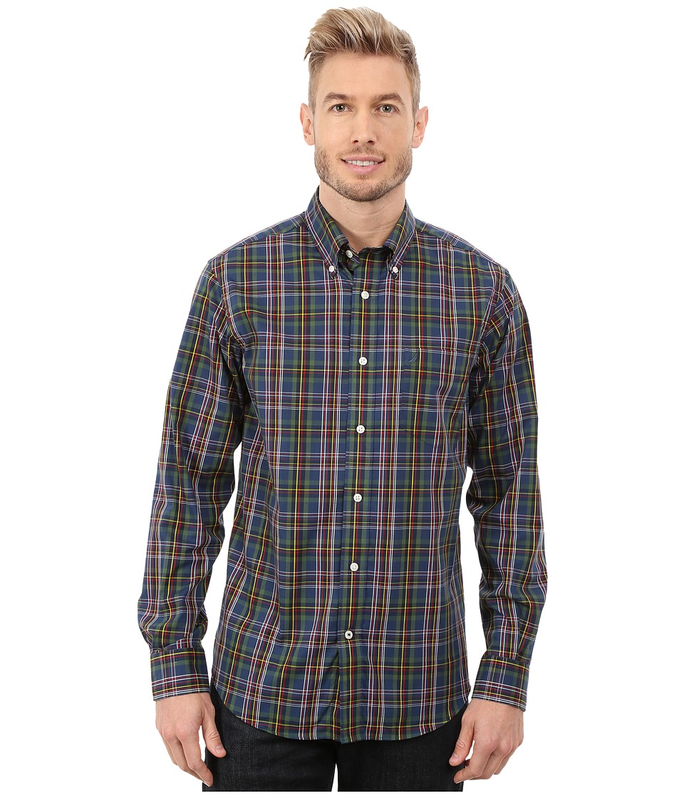 Nautica - Long Seeve Wrinkle Yard Large Plaid (Pacificpne) Men's Long Sleeve Button Up