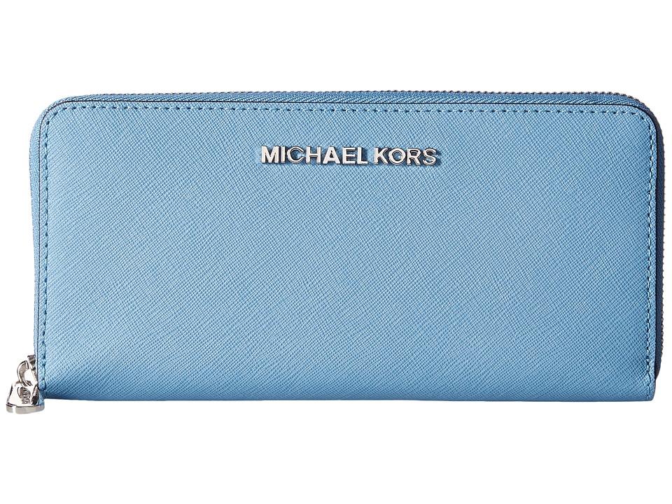 MICHAEL Michael Kors - Jet Set Saffiano Travel ZA Continental (Sky) Continental Wallet