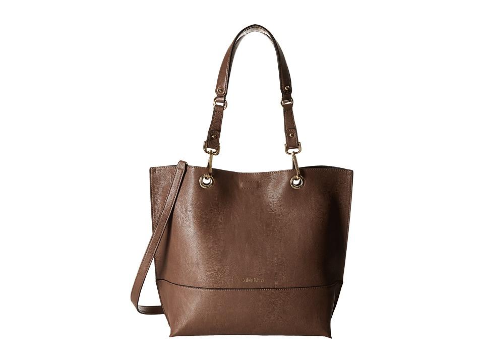 Calvin Klein - Unlined Tote (Dark Taupe/Black) Tote Handbags