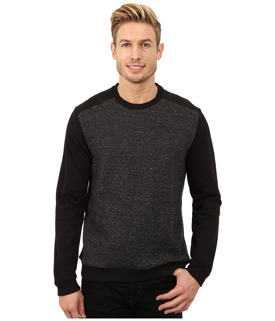 Calvin Klein - Solid Prequilted Crew Neck Sweatshirt (Carbon) Men's Sweatshirt
