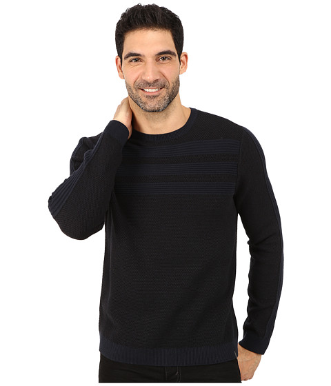 Calvin Klein - Cotton Acrylic Moss and Garter Stitch Crew Neck Sweater (Navy) Men