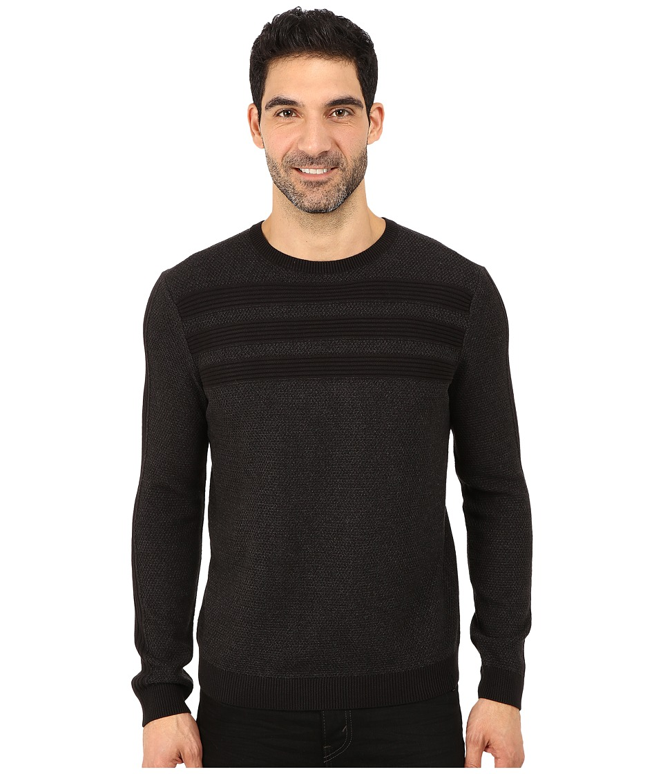 Calvin Klein - Cotton Acrylic Moss and Garter Stitch Crew Neck Sweater (Black) Men's Sweater