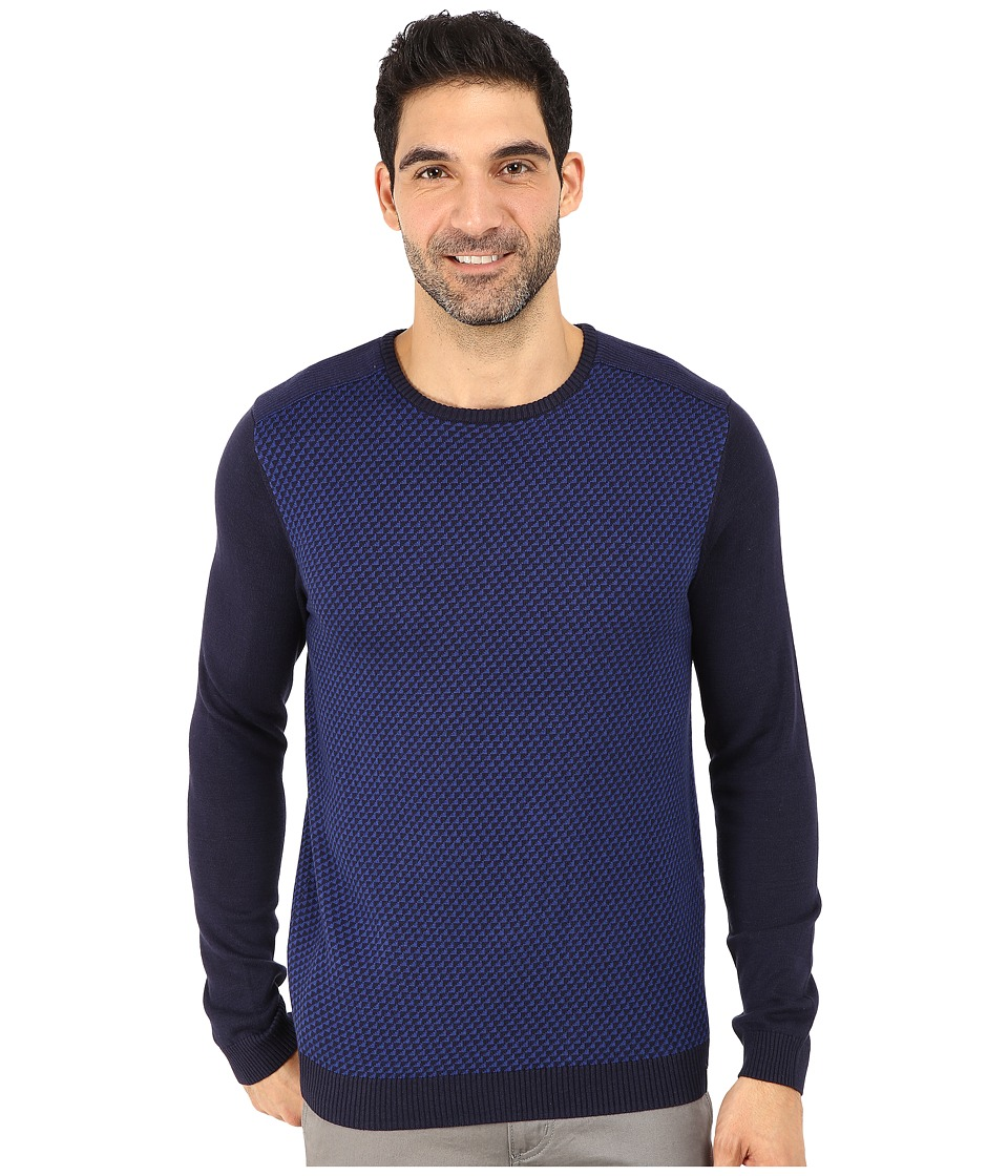 Calvin Klein - Cotton Modal Plaited Rib Shoulder and Jacquard Crew Sweater (Peacoat) Men's Sweater