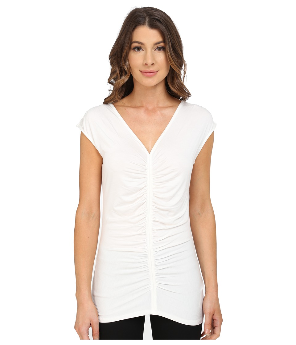 Adrianna Papell - V-Neck Ruched Top (Ivory) Women's T Shirt
