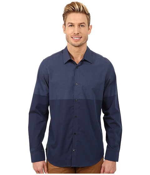 Calvin Klein - Engineer Color Block Woven Shirt (Officer Navy) Men's Long Sleeve Button Up