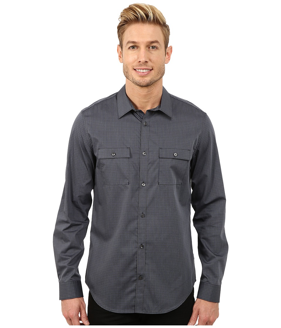 Calvin Klein - Cross Dobby Pin Stripe Woven Shirt (Black) Men's Long Sleeve Button Up