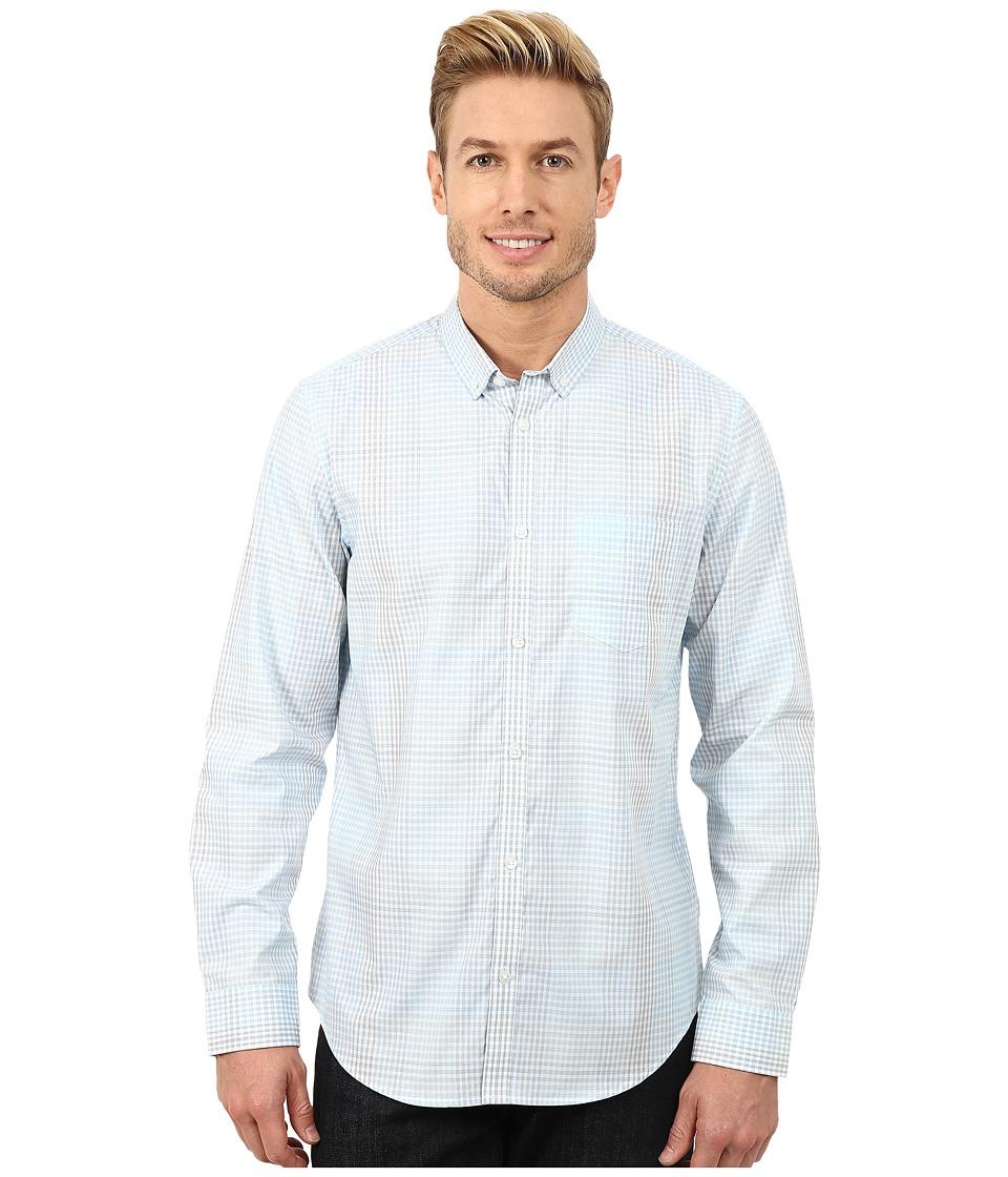 Calvin Klein - Broken Shadow Plaid Woven Shirt (Tile Blue) Men's Long Sleeve Button Up