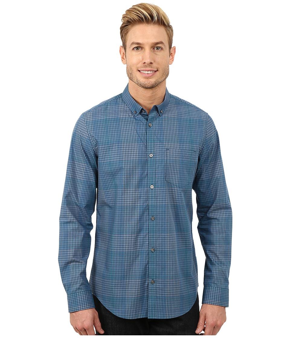 Calvin Klein - Broken Shadow Plaid Woven Shirt (Celestial) Men's Long Sleeve Button Up