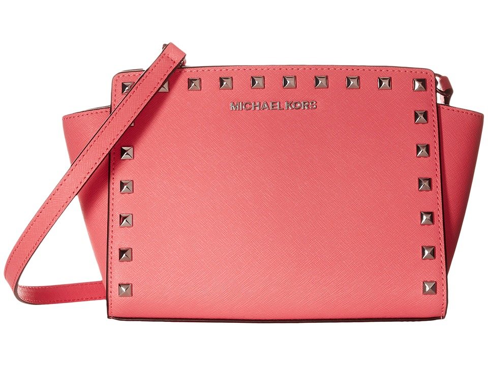 MICHAEL Michael Kors - Selma Stud Medium Messenger (Coral) Cross Body Handbags